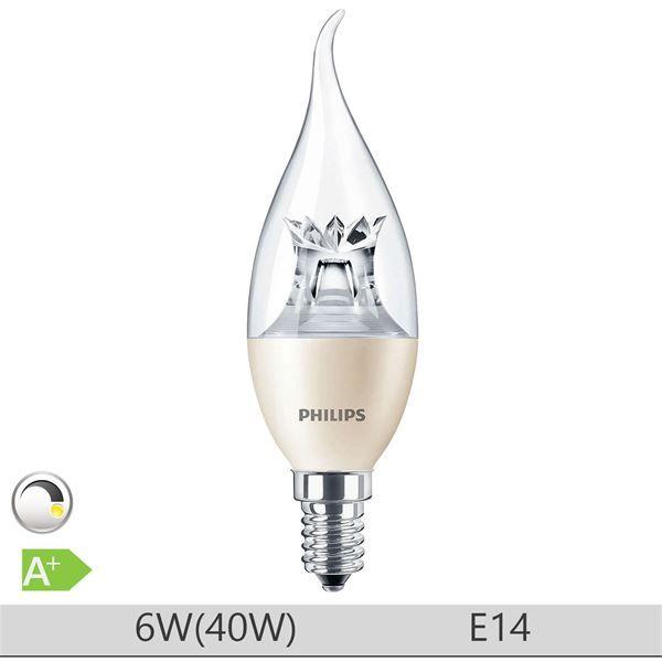Bec LED Philips 6W E14, forma lumanare BA38, lumina calda