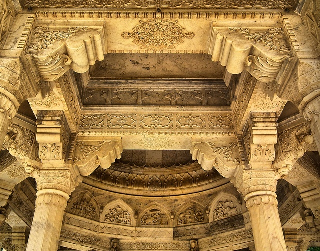 Sculptured rock Columns And Ceiling In Jaipur Rajasthan India By