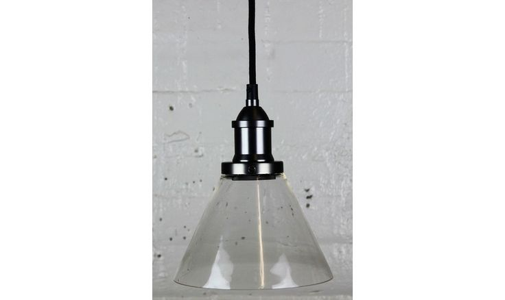 Mr Ralph   Glass Funnel Pendant - 19cm dia - Brass, Black, Pewter, White and Silver fittings - ESSENTIALS, Pendants