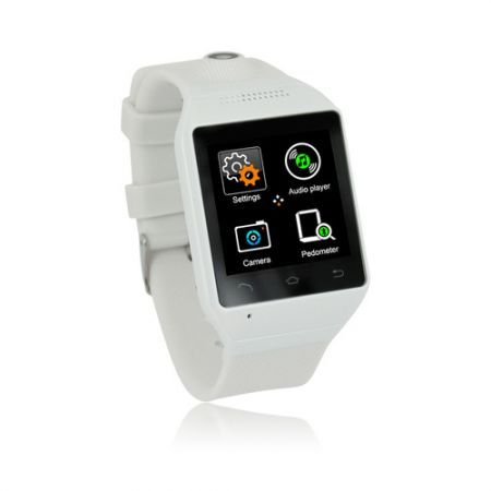 "S19 Bluetooth Smart Watch Phone 1.54"" Touch Screen GSM Support SIM TF Camera Smartwatch for Android Cell Phone Sync  - White"