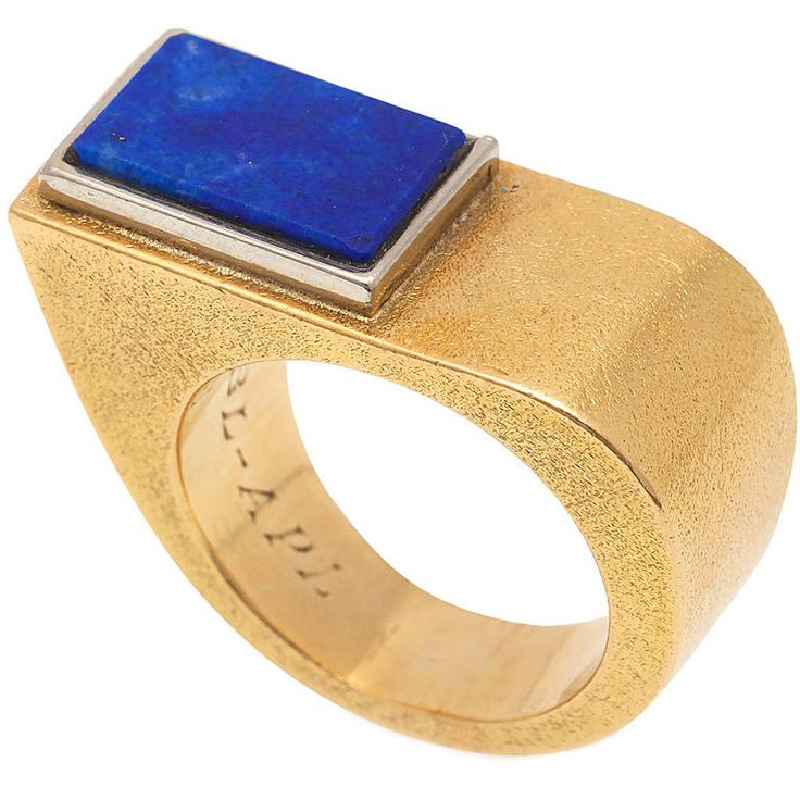 Cartier Asymmetrical Lapis Gold Ring | From a unique collection of vintage fashion rings at https://www.1stdibs.com/jewelry/rings/fashion-rings/