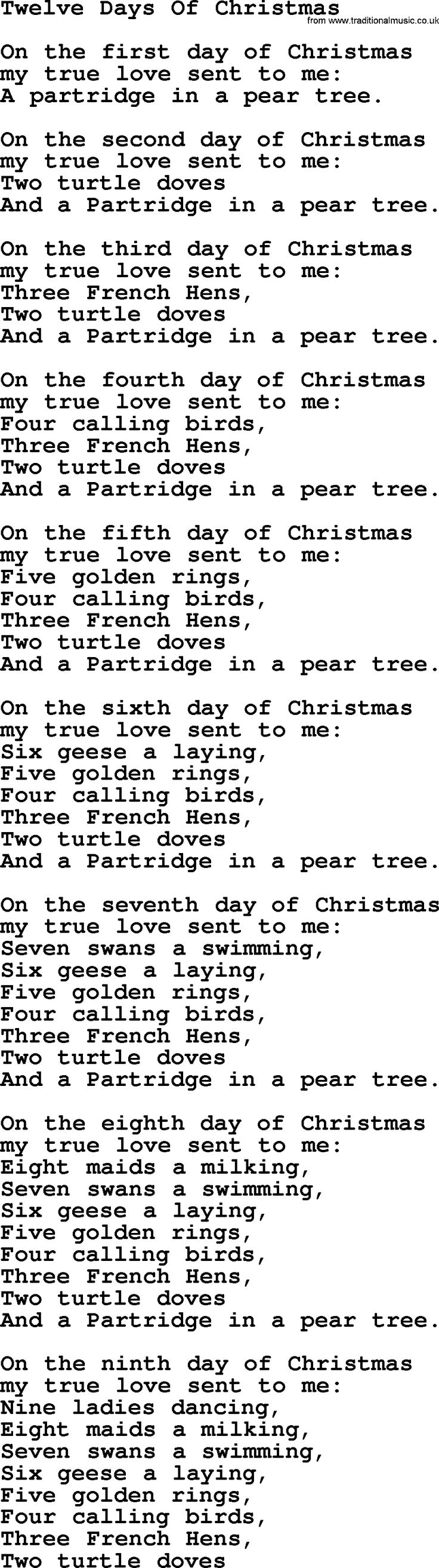Traditional – The Twelve Days of Christmas Lyrics | Genius ...