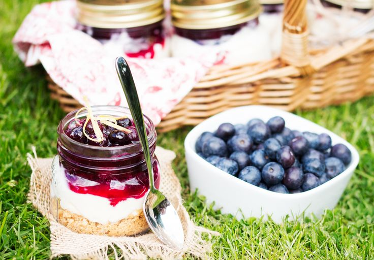 Save this easy summer no-bake dessert recipe to make individual Blueberry Mason Jar Cheesecakes.