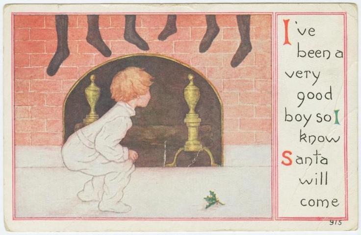 Buscando a Santa Claus en la chimenea: Clause En, Santa Clause, Laminae Vintage, Boys, Cosa Nueva Las, La Chimenea, In The