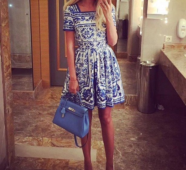 Vintage fashion brand blue white porcelain print dress square collar short sleeve slim cute dresses