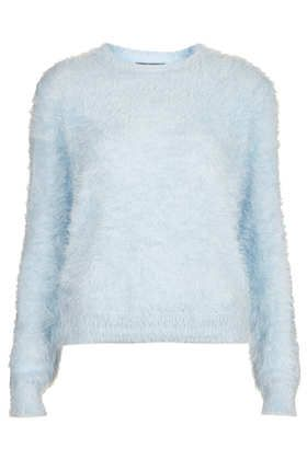 Petite Knitted Fluffy Crew Jumper