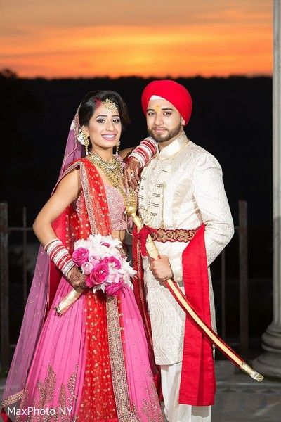 Sikh indian couple wearing their wedding ceremony attires. http://www.maharaniweddings.com/gallery/photo/96750
