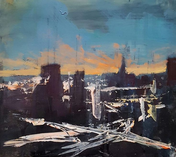 """""""Urban Dusk Series No.5"""" by Paul Mitchell. Mixed Media painting on Panel / Board / MDF, Subject: Architecture and cityscapes, Impressionistic style, One of a kind artwork, Signed certificate of authenticity, This artwork is sold unframed, Size: 30 x 30 cm (unframed), 11.81 x 11.81 in (unframed), Materials: Mixed media on foam  board"""