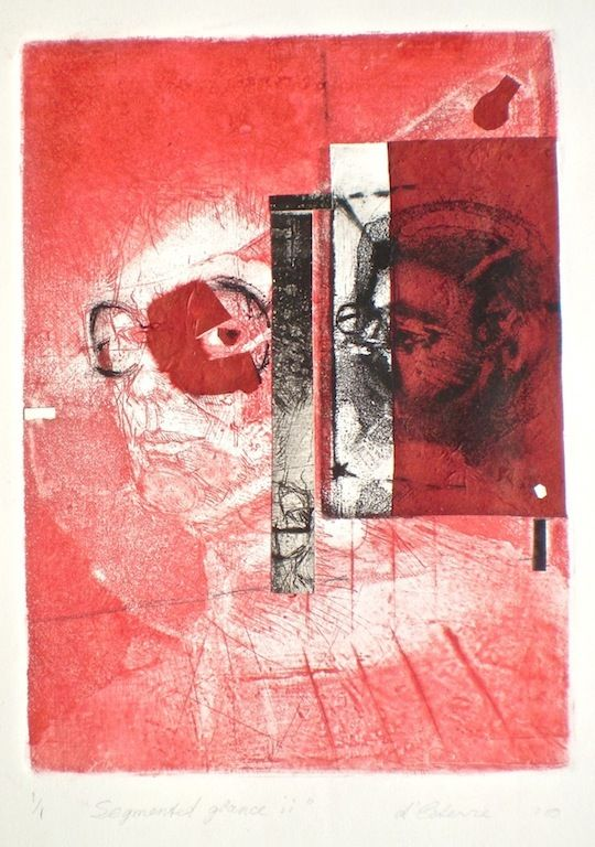 ELAINE d'ESTERRE - Etching titled Segmented Glance 2, 1/1, 2010, intaglio and collage 26x18 cm print, 50x35 cm paper by Elaine d'Esterre at http://elainedesterreart.com and http://www.facebook.com/elainedesterreart/ and http://instagram.com/desterreart/