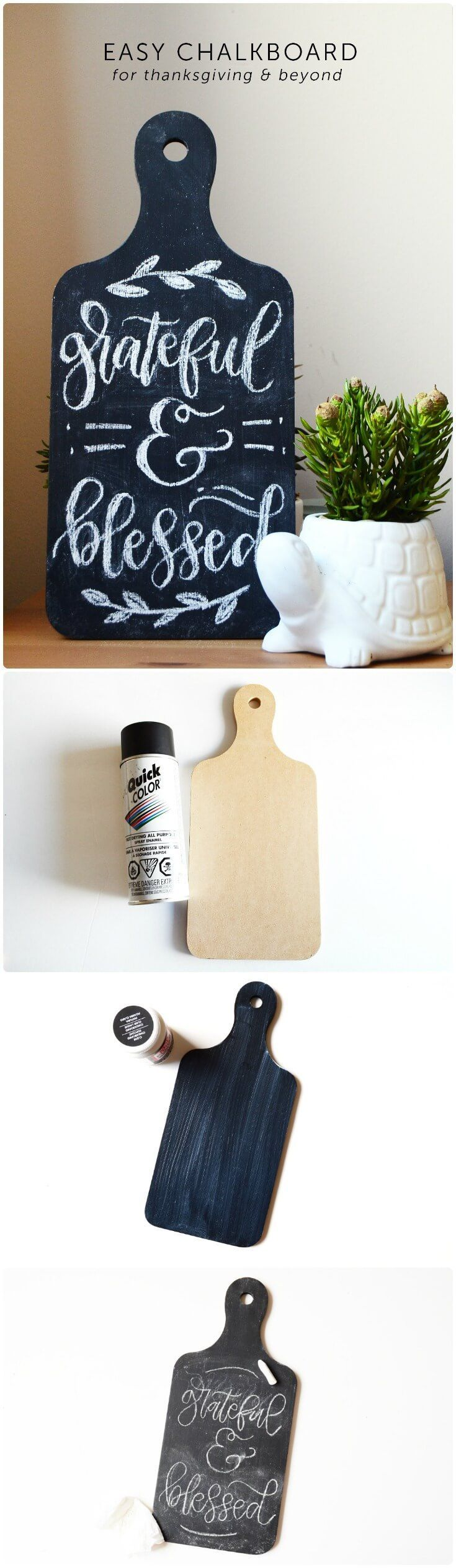 Use an MDF breadboard to make this unique DIY chalk board. Perfect for writing messages for Thanksgiving and other holidays - or even every day! via /modpodgerocks/