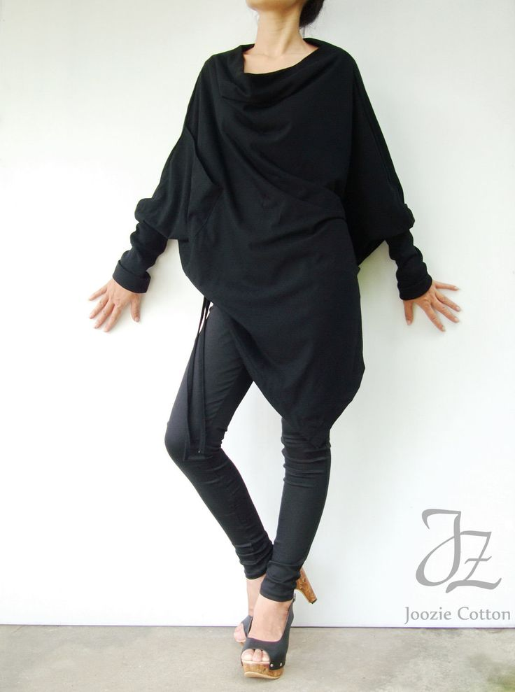 NO.59 Black Cotton Jersey Batwing Tunic Loose by JoozieCotton