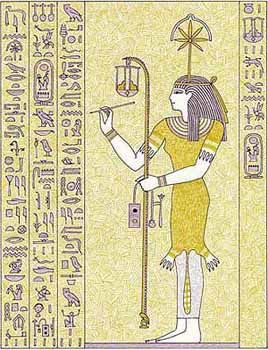 The headdress of Seshat was also her hieroglyph which may represent either a stylized flower or seven pointed star on a standing goddess that is beneath a set of down-turned horns. The horns may have originally been a crescent, linking Seshat to the moon and hence to her spouse, the moon god of writing and knowledge, Thoth. Safekh-Aubi (Sefekh-Aubi) is a title that came from Seshat's headdress, that may have become an aspect of Seshat or an actual goddess. Safekh-Aubi means 'She Who Wears…