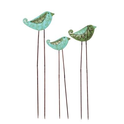 Tin Bird Garden Stakes s/3