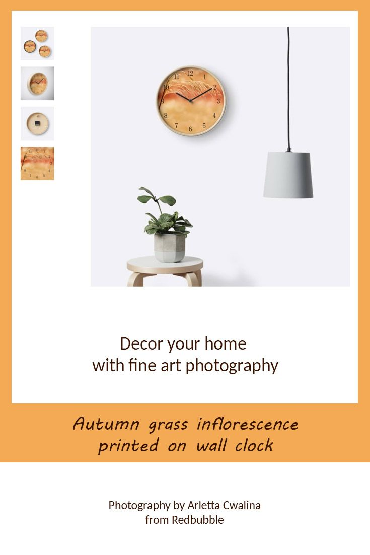 Decor your home with fine art photography, grass inflorescence printed on the wall clock. Nature Photography by Arletta Cwalina/ @redbubble. See more clothes and home decor ideas and if you love it, feel free to share, maybe your friends would like to have it too :) #homedecor #clock #autumngrass