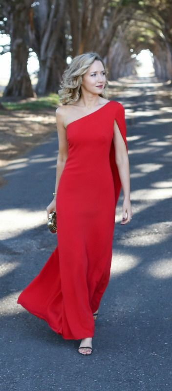 long one shoulder cape gown perfect for black tie holiday parties