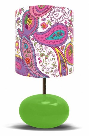 """Oopsy daisy, Fine Art for Kids presents Disney® """"It's a Small World - Pretty Paisley on Green"""" kids lamp $138"""