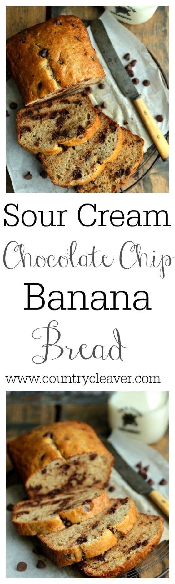 Sour Cream Chocolate Chip Banana Bread
