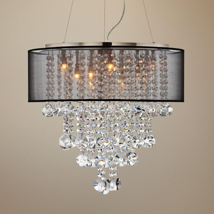 Possini Euro Brushed Nickel Black 22 Quot W Crystal Chandelier