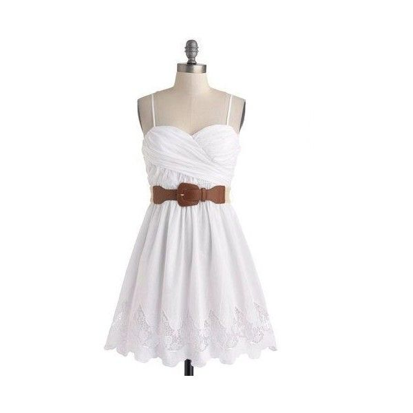 ModCloth Spaghetti Straps A-line Country Craft Festival Dress ❤ liked on Polyvore featuring dresses, a line dress, white spaghetti strap dress, a line silhouette dress, a line shape dress and white a line dress