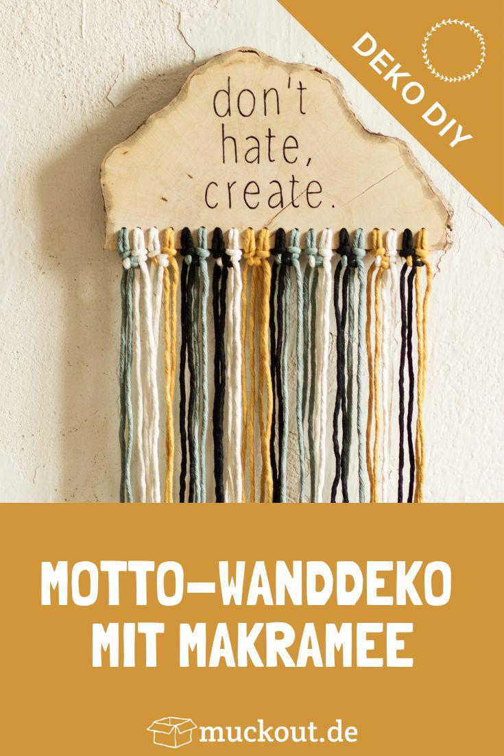 DIY-Idee: Motto-Wanddeko aus Holz mit Makramee