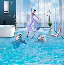 3D Blue sea dolphin 2263 Floor WallPaper Murals Wall Print Decal 5D AJ WALLPAPER