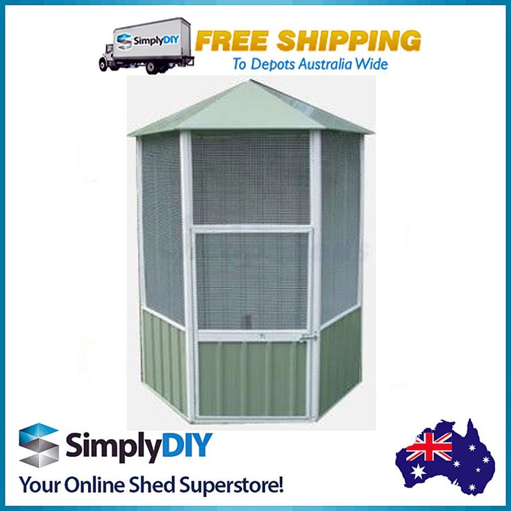 ABSCO BIRD AVIARY 1.56mW x 1.32mD x 2.18mH HEXAGONAL CAGE QUALITY PALE EUCALYPT