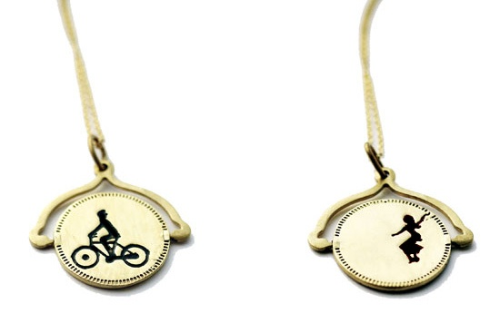bicycle  whirlgig necklace