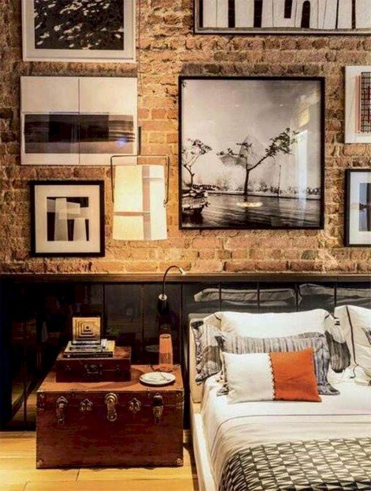 40 Farmhouse Bedroom With Brick Wall Decoration Ideas