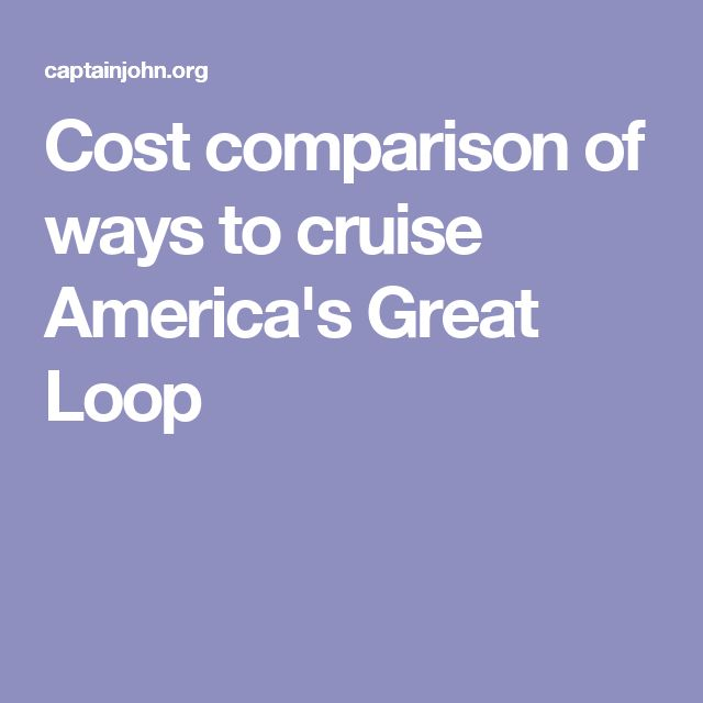 Cost comparison of ways to cruise America's Great Loop