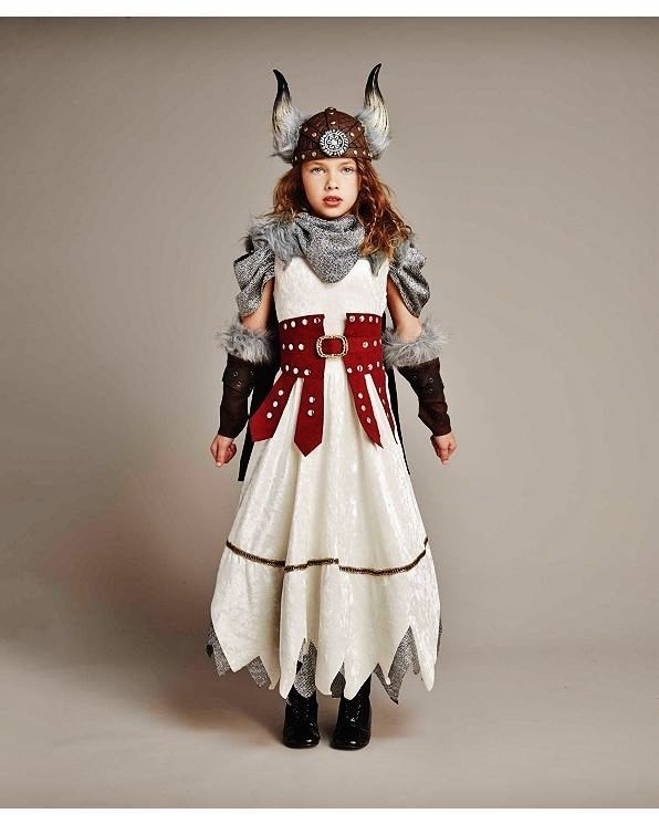 Big Girls Theme Party Dress Up 5 Piece Viking Halloween Costume Set Size 4-14