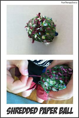 Shredded Paper Ball- a fun way to test fine motor skills. From Your Therapy Source. Pinned by  SOS Inc. Resources.  Follow all our boards at http://pinterest.com/sostherapy  for therapy   resources.