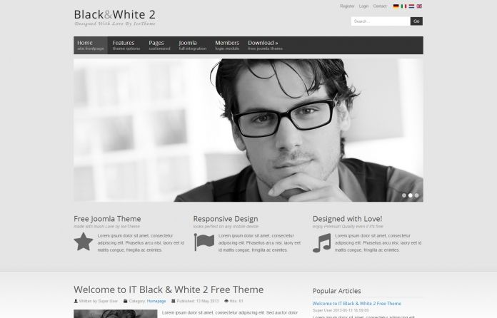 IT Black & White 2 - #Free Joomla template. Responsive, built-in #bootstrap framework & featuring all our Ice modules.