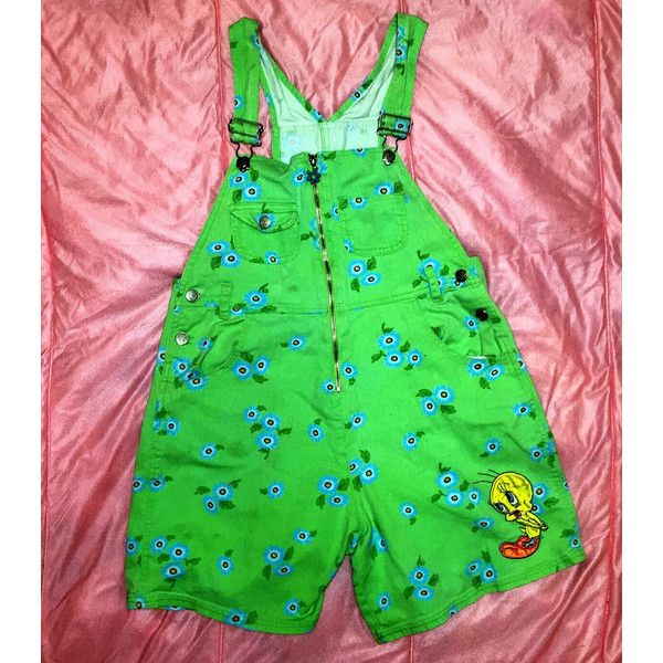90s daisy Warner Bros Tweety green overalls (£31) ❤ liked on Polyvore featuring jumpsuits, green overalls, bib overalls, green jumpsuit and overalls jumpsuit
