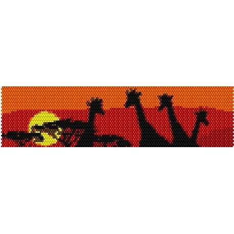 Instant Download Beading Pattern Peyote Stitch Bracelet Giraffes at Sunset Seed Bead Cuff on Etsy, $3.00