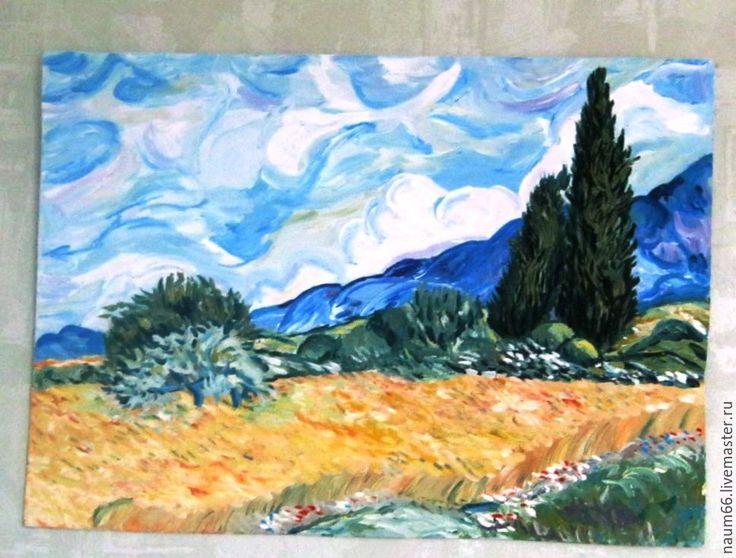 """Купить """"Пшеничное поле"""" Картина акрилом - комбинированный, картина, картина в подарок, картина для интерьера"""