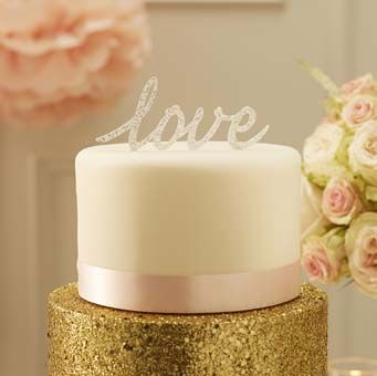 """Top your wedding cake with this stunning silver sparkle """"Love"""" cake topper."""