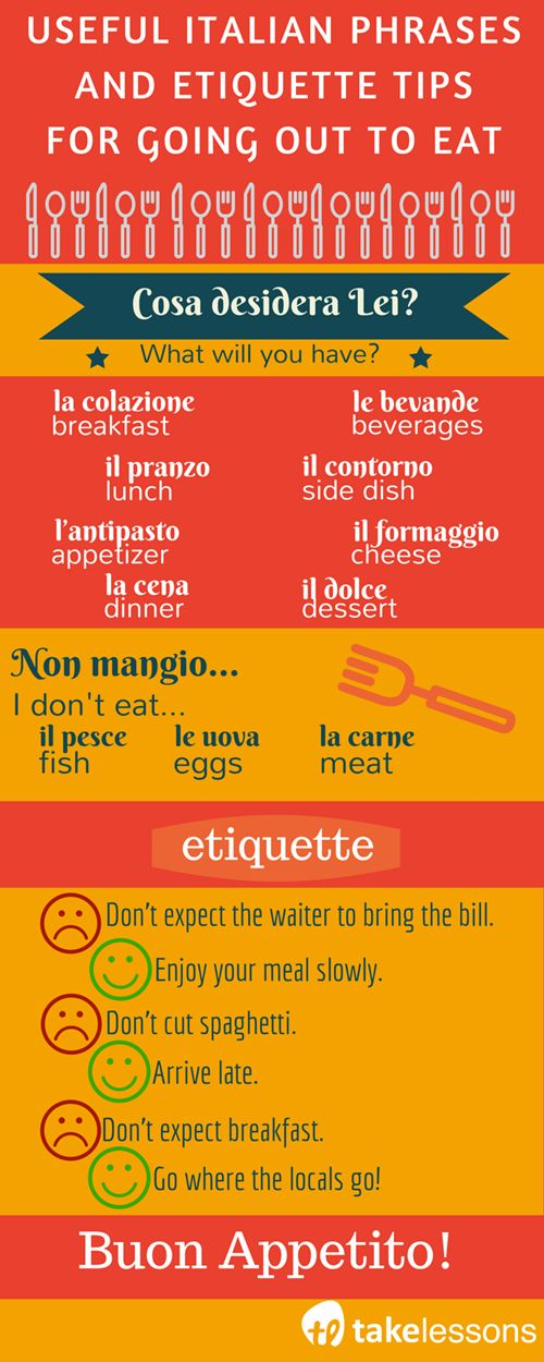 Useful Italian Phrases and Etiquette Tips for Going Out to Eat http://takelessons.com/blog/useful-italian-phrases-for-eating-z09?utm_source=social&utm_medium=blog&utm_campaign=pinterest