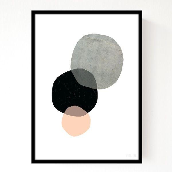 Mint Six circles art - pink, black, grey