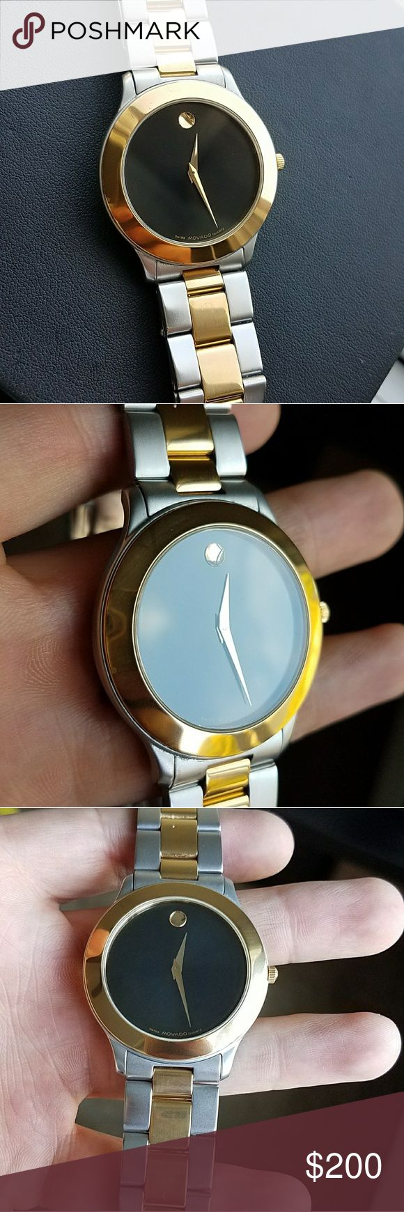 "Movado museum juro Two tone gold silver mens watch Fits 7 1/2"" wrist Movado Accessories Watches"
