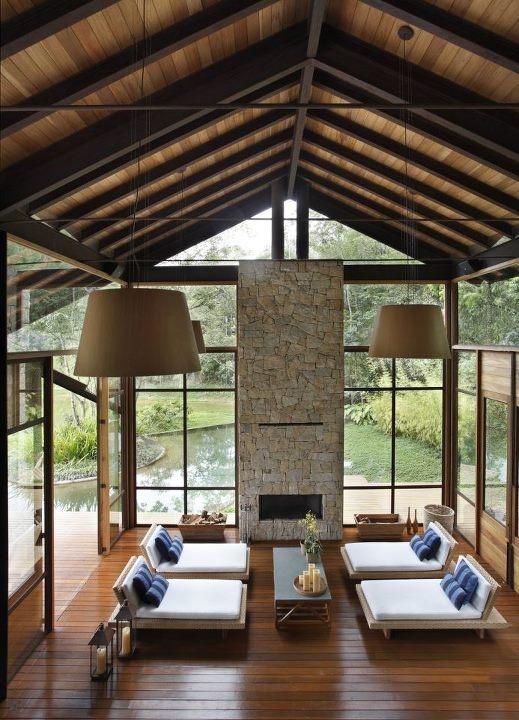 deconstructed A-frame. windows, fireplace, loungers