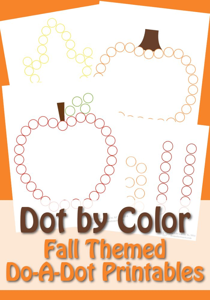 Dot by Color: Fall Do-A-Dot Printables - From ABCs to ACTs -repinned by @PediaStaff – Please Visit ht.ly/63sNt for all our pediatric therapy pins