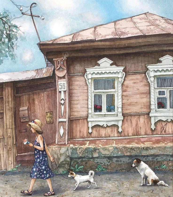 #Zaraisk #art #watercolor #citylandscape #AlenaDergileva