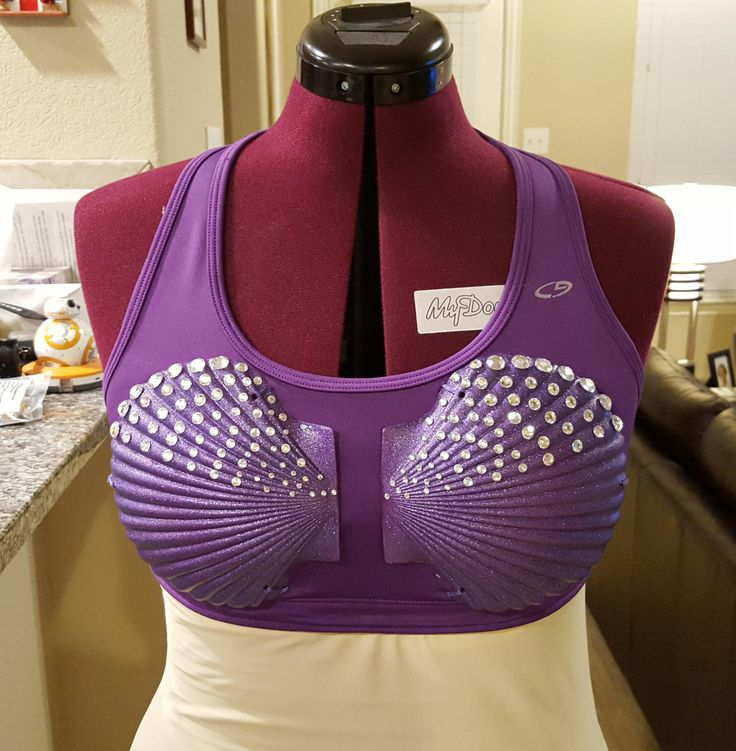 Ariel running costume - rhinestone seashell sports bra. Items used: Plastic seashells - http://amzn.to/1P3q2IG Purple spray paint for plastics - http://amzn.to/1K9arGk Purple glitter spray paint - http://amzn.to/1IYQHu0 Self-stick gems from Michael's