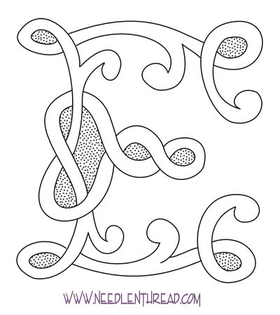 Free Hand Embroidery Pattern: Celtic Monogram E--whole alphabet available