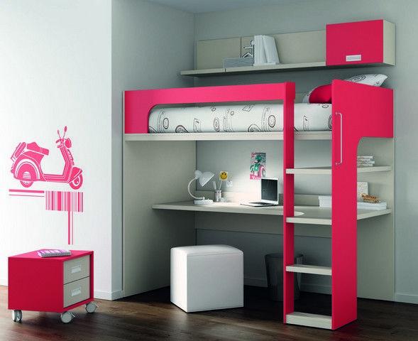 Composición compacta compuesta por cama elevada para colchón de 190x90, escalera, estante, mesa estudio de 207cmx107x3,5 con forma, estante pared con modulo colgado de puerta elevable de 196x26 y...