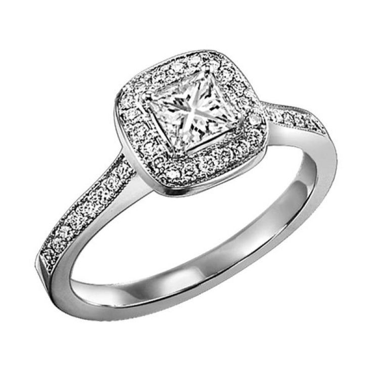 New  cttw cushion shaped halo princess cut diamond engagement ring