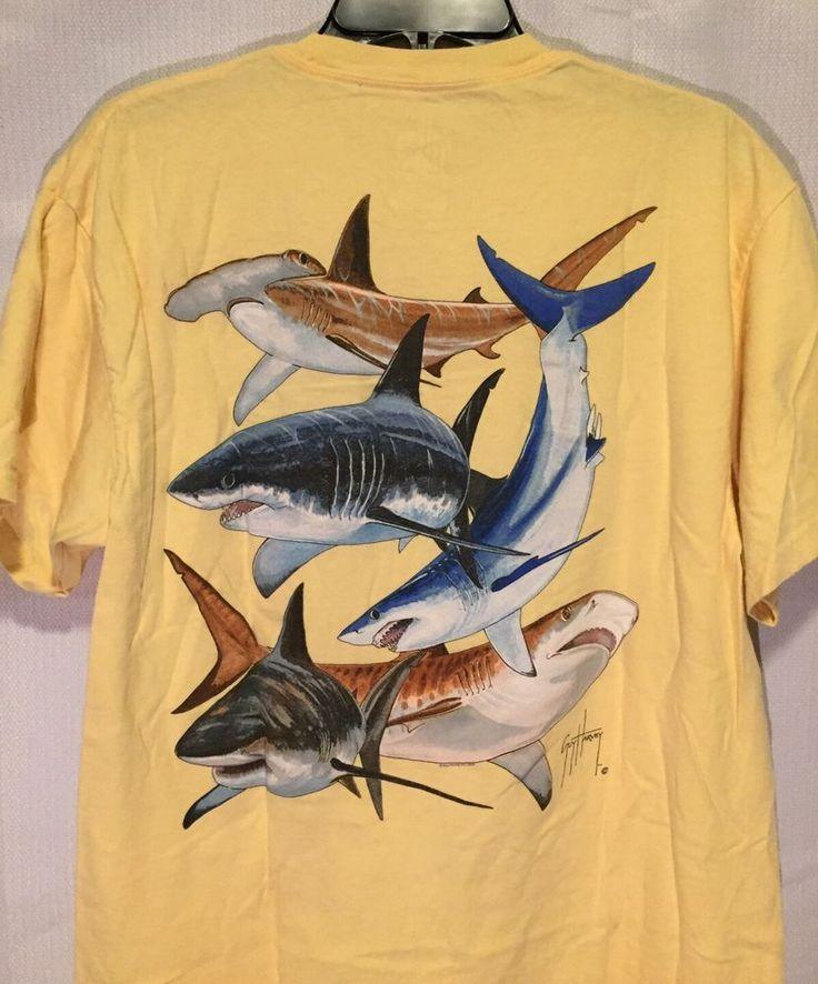 Guy Harvey Yellow Game Fish Design Short Sleeve Pocket T-Shirt Size Large L  | eBay