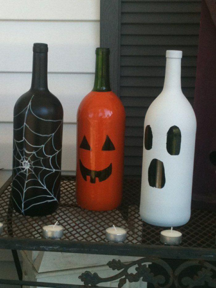 ideen für halloween deko basteln flaschen diy
