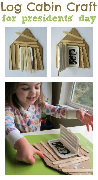 "Super fun Lincoln Log Cabin Craft for Presidents' Day. We live in Canada so we don't celebrate Presidents' Da but I know my son would have fun ""building"" this little nouse and putting a picture of himself or someone he loves inside."