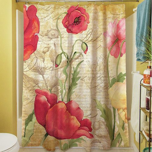 Found it at Wayfair - Large Poppy Heads Shower Curtain